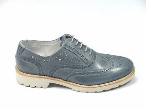 SCARPE NERO GIARDINI DONNA P717191D NAVY STILE BRITISH MADE IN ITALY SHOES