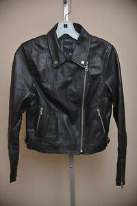 Barney-039-s-Original-Black-Sheepskin-LEATHER-Motorcycle-Moto-Jacket-Women-039-s-size-10