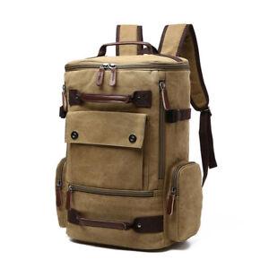 Details About Men Vintage Canvas Backpack Satchel Travel Shoulder School Bag