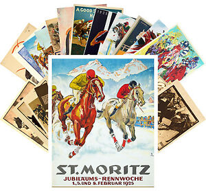 Postcards-Pack-24-cards-Horse-Races-Derby-Equestrian-Vintage-Posters-CC1095