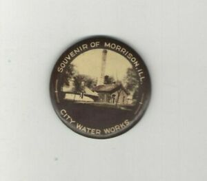 Early-1900s-pocket-mirror-WATER-WORKS-Morrison-ILLINOIS