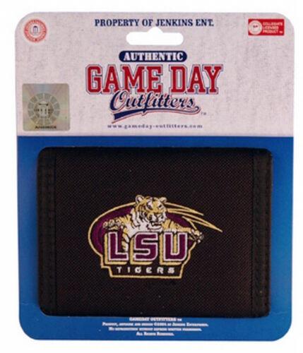 LSU Tigers Wallet Mens Black Bi-fold Wallet Tiger Head Logo