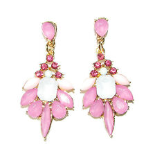Gold Pink White Faux Opal Diamante Earrings Drop Stud Chandelier Vtg 1920s 1330