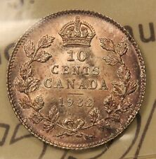 1932 Canada Silver 10 Cents MS-64 ICCS Near Gem Uncirculated, toned. BV $425