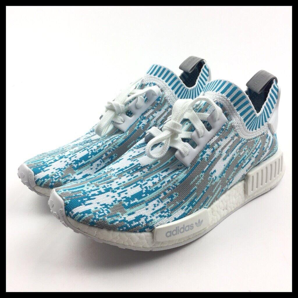 Adidas NMD R1 PK x SNS Datamosh White Aqua bluee Mens shoes Size 9.5 BB6364
