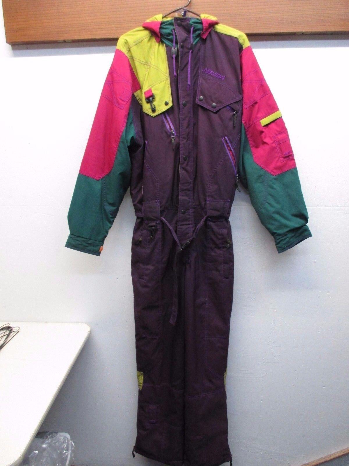 VTG 1980s-90 Nevica Purple One Piece Ski Snow Suit Bib Recco Equip Men's Sz 40 M