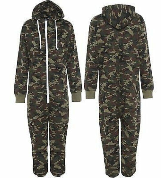 UNISEX MENS ARMY MILITARY PRINT ZIP UP ONESIE1 ALL IN ONE HOODED JUMPSUIT S-XL