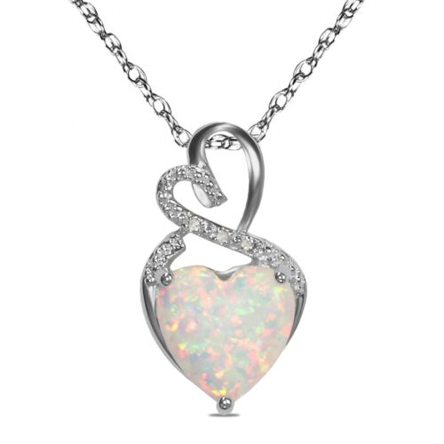 Sterling Silver Diamond Accent Birthstone Created Opal Heart Necklace Pendant