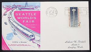 US-World-039-s-Fair-Monorail-Cachet-Cover-Seattle-Space-Needle-4c-USA-Letter-Y-321