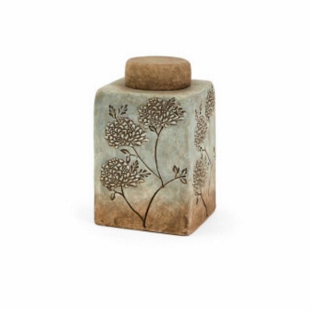 French Country Earthenware Lidded Canister/Jar/Vase w/Floral Textured Design