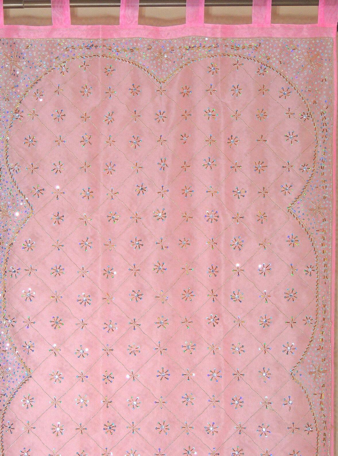 Rosa Curtain Panel - Zardozi Embroiderot Embroiderot Embroiderot Beaded India Window Treatments 92  2d0615
