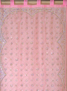 Pink-Curtain-Panel-Zardozi-Embroidered-Beaded-India-Window-Treatments-92-034