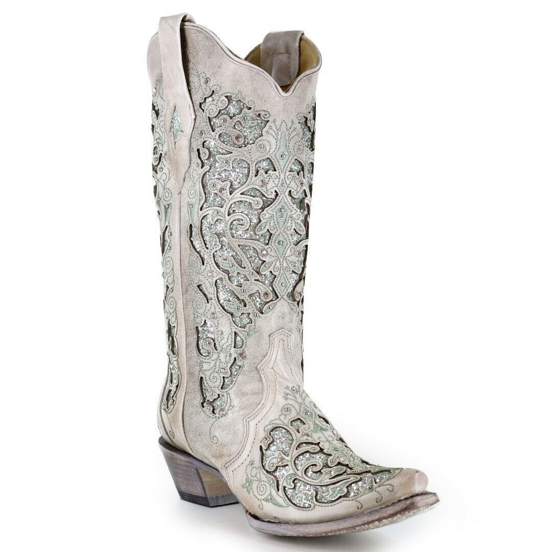 Corral Women's Glitter Inlay Crystal Cowgirl Western Boots Green Silver A3321