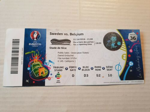 Used Sammler Ticket UEFA EURO 2016 #36 Sweden Belgium Schweden Belgien