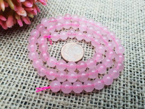 Strang 38 cm de piedras preciosas perlas naturales rosas aproximadamente cuarzo rosa bola 6,5 mm