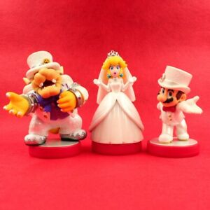 Details About Used Nintendo Amiibo Mario Peach Bowser Wedding Style 3 Pack Mario Odyssey F S