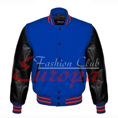 Black Varsity Letterman Wool Body And black Real Leather Sleeves Jacket XS-4XL