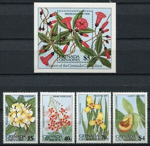éNergique Grenade Grenadines 1984 Fleurs Flowers Blossoms Fleurs 585-589 Bloc 78 Neuf Sans Charnière Pour Aider à DigéRer Les Aliments Gras