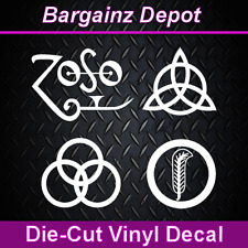 Vinyl Decal ... LED ZEPPELIN IV ... Band Symbols ZOSO Car Laptop Sticker