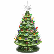 BCP 15in Pre-Lit Hand-Painted Ceramic Tabletop Christmas Tree w/ 64 Lights