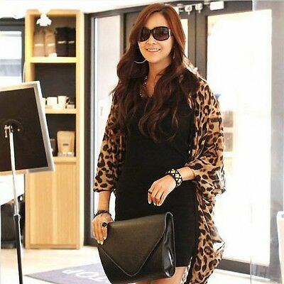 Leopard Print Batwing Sleeve Cape Tunic Chiffon Cardigan Lady Tops Shawl Cheap