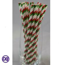 15 Red White /& Green Striped Paper Straws Christmas Party Straws Patterned