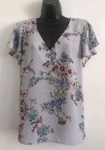 NEW-Ex-Wallis-Grey-Floral-Print-Flare-Chiffon-Sheer-Summer-Blouse-Top-Size-10-18