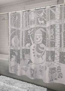 Image Is Loading Heritage Lace SHOWER CURTAIN Snowman 72x72 WHITE Made