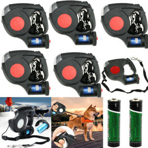 5X-5M-Dog-Traction-Rope-Training-Leashes-Retractable-3LED-Light-With-Garbage-Bag