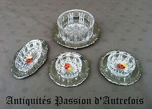 Adroit B20131042 - 4 Petits Raviers En Cristal Pressé Sur Plateaux En Inox