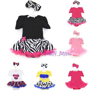 Newborn-Infant-Baby-Girl-Headband-Romper-Jumpsuit-Tutu-Dress-Clothes-Outfit