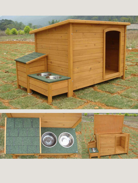 POOCH HAVEN DOG KENNEL, PET HOME WITH DINNER BOWLS & STORAGE BOX - GIANT