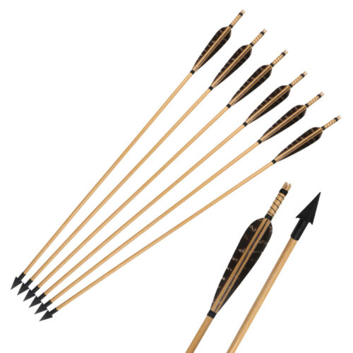 """31/"""" Archery Hunting Handmade Wooden Arrows with Turkey Feathers Broadheads Shot"""