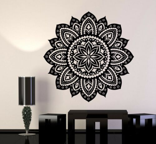 Vinyl Wall Decal Yoga Studio Mandala Lotus Flower Home Decor Stickers 706ig