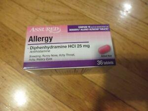 2-X-36Pk-ALLERGY-ANTIHISTAMINE-Diphenylhydramine-25mg-Generic-Benadryl-Allergy