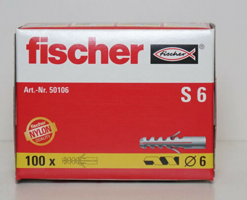 Fischer Wall Plugs S6 Pack of 100 6mm x 35mm
