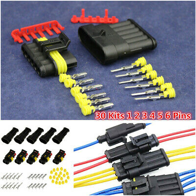 30Sets 1 2 3 4 5 6 Pin Way Sealed Electrical Wire Connector Plug Car Motor Well