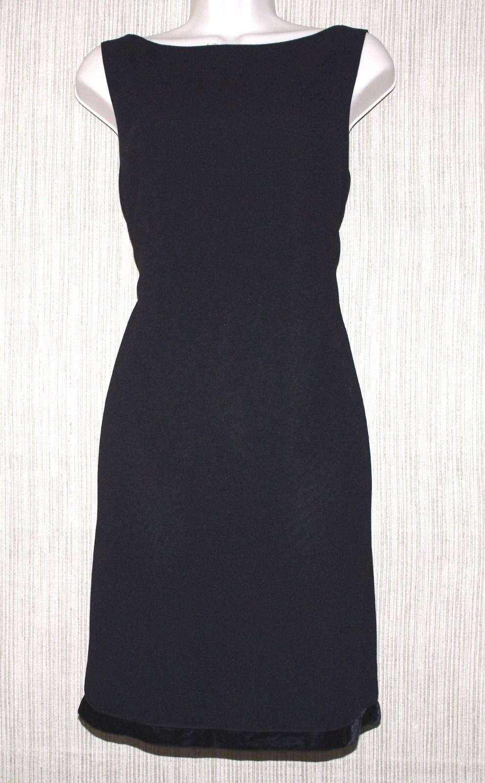 NICOLE MILLER nouveau YORK noir sans hommeches au-dessus du genou velours Trim Robe taille  12