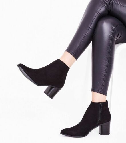 New Boots Heel Uk Suedette Size Curved Look Ankle Black Block 5 Brand rqZg8wr
