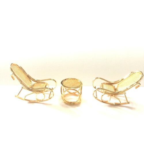 Vintage Miniature Brass Rocking Chair Table Set Pair Dollhouse Bed Furniture