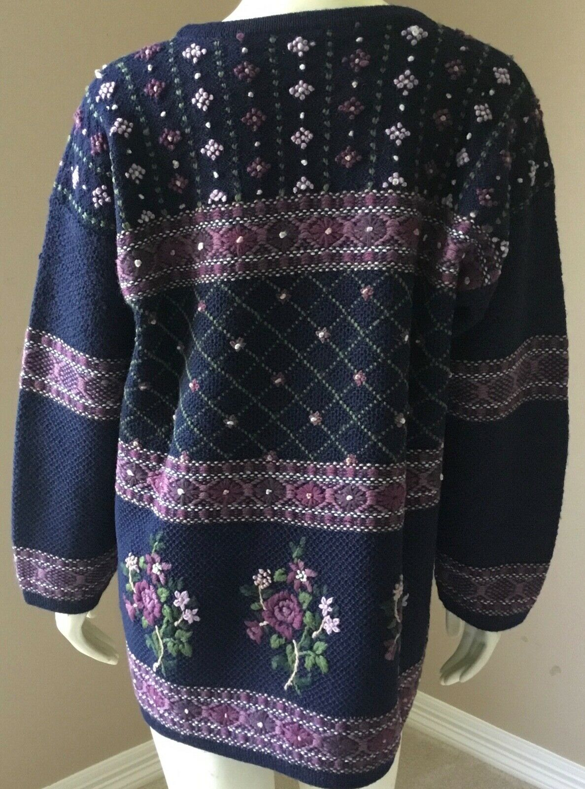 Vintage Laura Ashley 90s Floral 100% Wool Embroid… - image 8