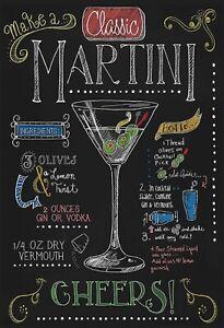 Classic-Martini-Cocktail-Recette-Panneau-Metallique-Plaque-en-Etain-20-X-30-CM