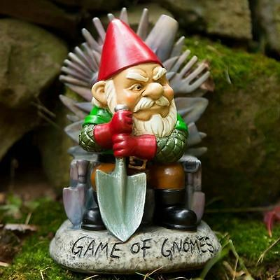 "Big Mouth Toys Game of Gnomi Trono Gnomo 9"" Statua Novità Prato Ornamento"
