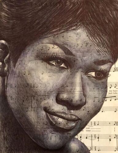 Aretha Franklin Birthday//Greeting Card.Pen Drawing over song lyrics.Blank Inside