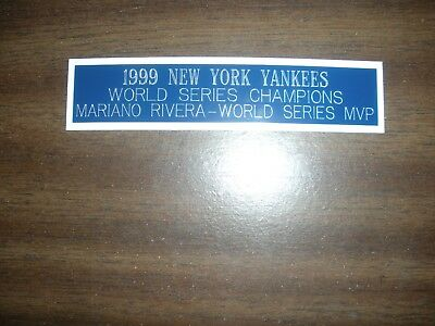 1999 New York Yankees (ws Champions) Engraved Nameplate For Photo/display/poster Superior (In) Quality