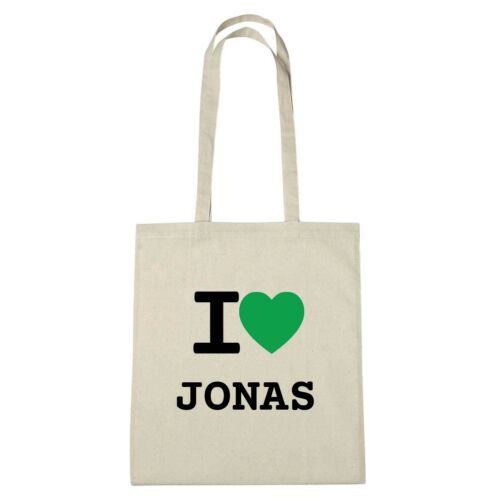Farbe: natur Umwelttasche Jutebeutel Ökotasche I love JONAS