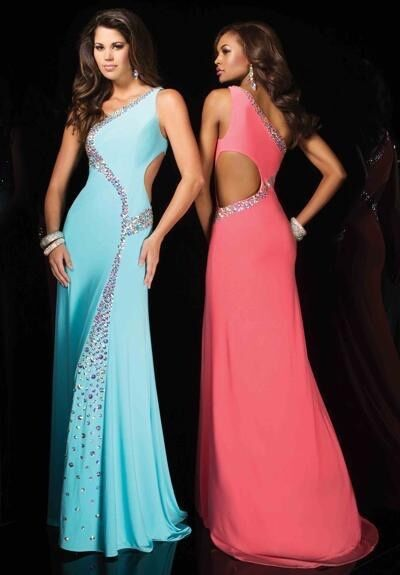 One shoulder Tony Bowls salmon jeweled jersey gown for pageants prom