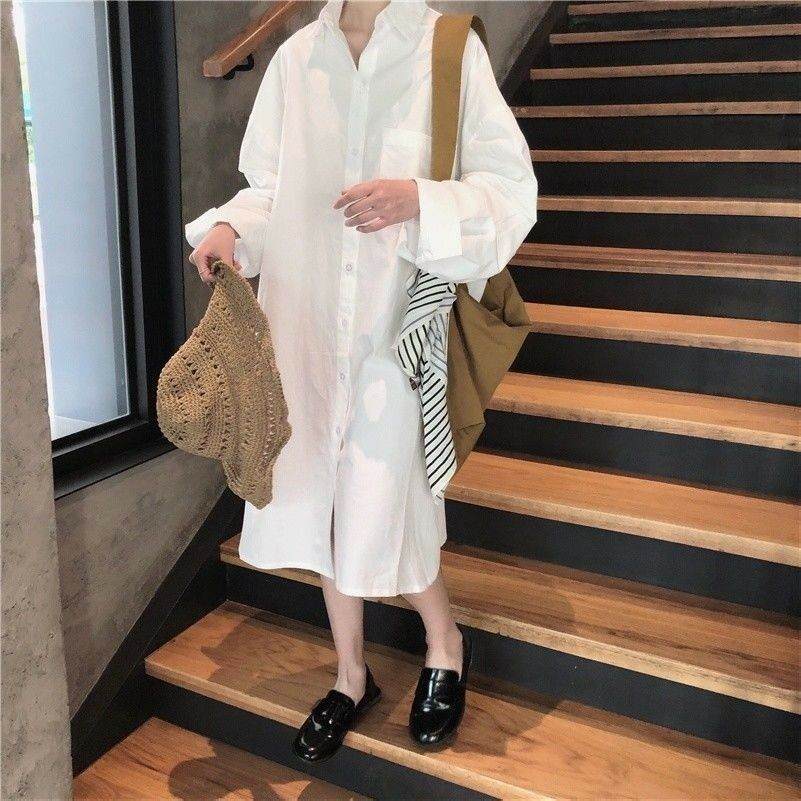 Fashion Women Ladies Long Shirt Dress Loose Casual Cotton Baggy Blouse Oversize