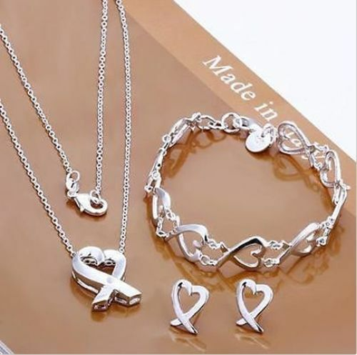 Fashion Jewelry S925 Sterling Silver SP Heart Bracelet +Earring+Necklace Set