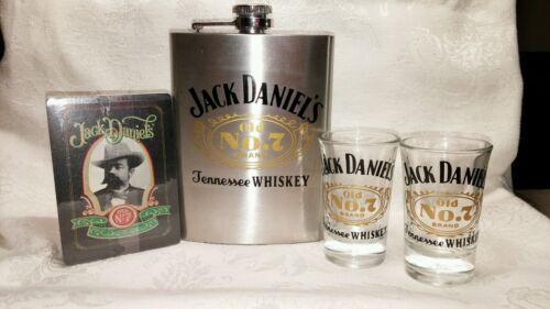 Jack Daniels Gift Set 2 Shotglasses 8 oz Flask Playing Cards Bar Decorations